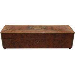 Amboyna Burl Wood and Brass-Inlaid Glove Box