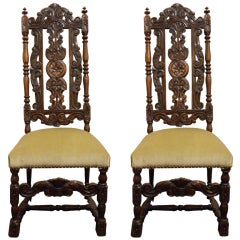 Pair of French Carved Walnut Hall Chairs, Circa 1840
