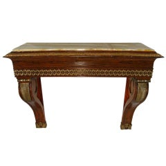 Neoclassical Ormolu Mounted Rosewood Marble-Top Console Table, 19th Century