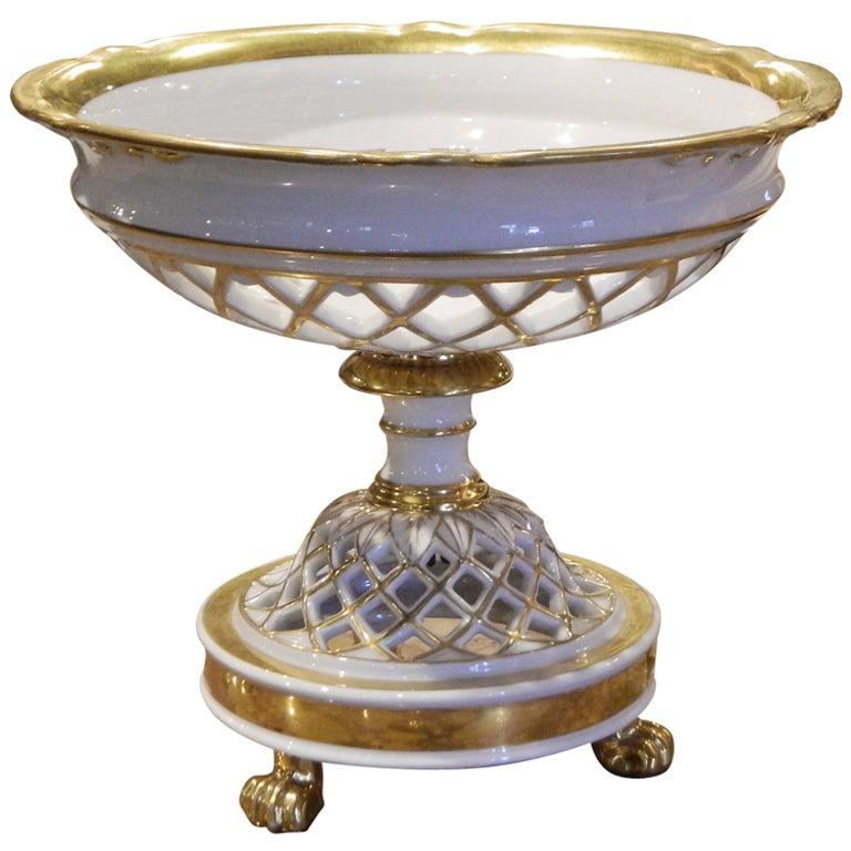 Old Paris Style Porcelain Reticulated Compote With Gold