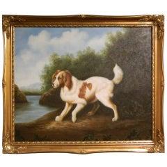 Oil on Canvas British School Portrait of an English Springer Spaniel