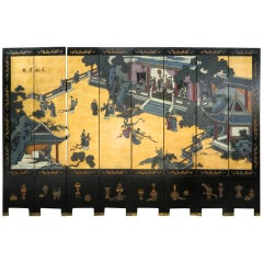 Antique Dual Sided Eight Panel Chinese Black Lacquer on Wood Screen