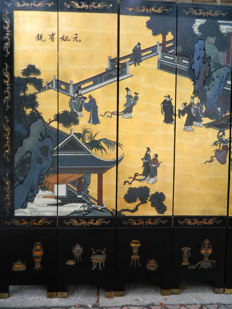Antique Dual Sided Eight Panel Chinese Black Lacquer on Wood Screen ...