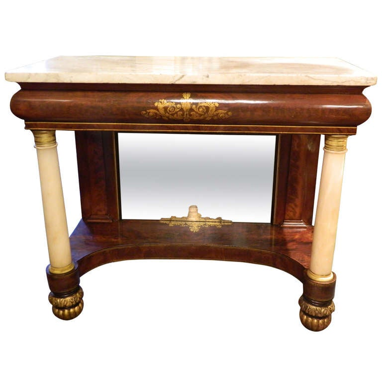 Circa 1830 Pier Table or Console with a Marble Top and Columns Flanking a Mirror