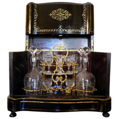 French Boulle and Brass Inlay Tantalus Set or Liquor Cabinet, circa 1870