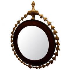 Federal Style Mahogany and Gilt Wood Oval Mirror, Circa 1800