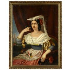 "Oil on Canvas Continental School ""Portrait of a Lady"", Late 18th Century"