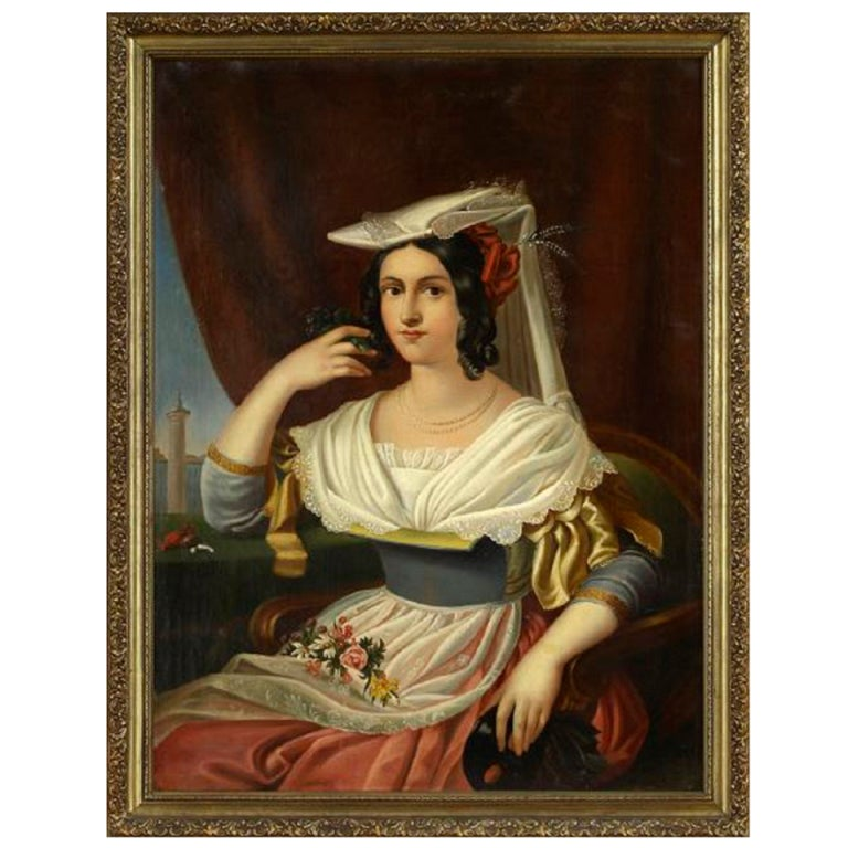 """Oil on Canvas Continental School """"Portrait of a Lady"""", Late 18th Century"""