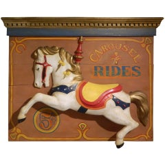 """Carousel """"Jumper"""" Horse on a Painted Board"""