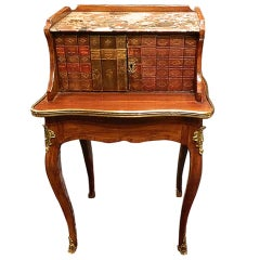 Louis XV Side Table with Inlaid Old Spine Book Fronts, Marble-Top, 19th Century