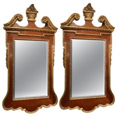 Pair of Chippendale Carved and Parcel Gilded Mahogany Mirrors