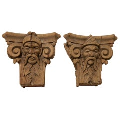 Pair of Architectural Column Capitals Mounted as Brackets