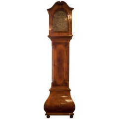 German Baroque Style Inlaid Walnut Tall Case Clock, 19th Century