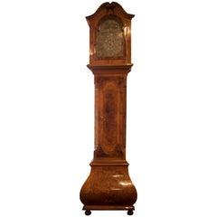 German Baroque Style Inlaid Walnut Tall Case Clock, 19th Century