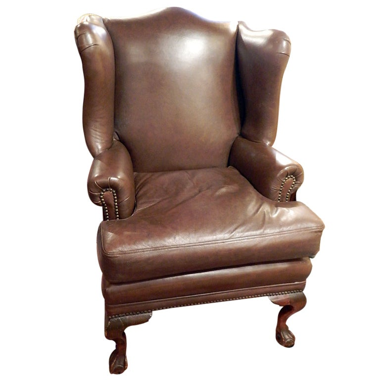 English Wing Back Chair Upholstered in Leather at 1stdibs