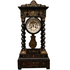 French Boulle Mantel Clock, 19th Century