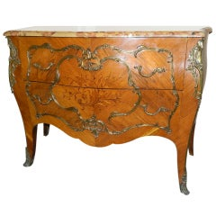 Louis XVI Style Marble-Top Bombe Commode or Chest of Drawers, 19th Century