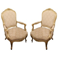 Pair of Painted and Gilt Napoleon III Arm Chairs, 19th Century