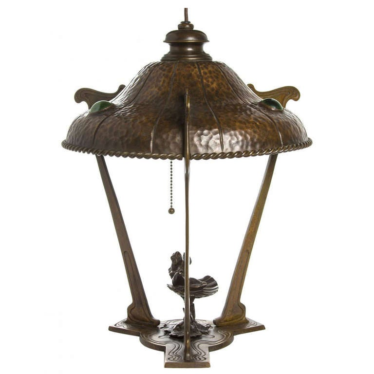 An Unusual Art Nouveau Copper Table Lamp For Sale At 1stdibs