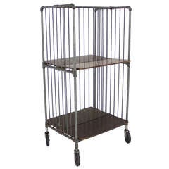 Heavy Industrial Mid-Century Modern Cart Rack with Storage Shelves