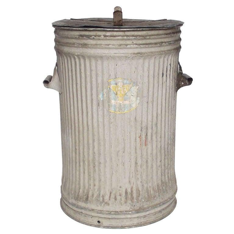 Aluminum Trash Cans : S industrial galvanized metal trash can log holder