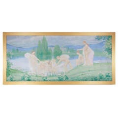 Young Girls and Boys Bathing in a Pond in a Symbolist Landscape