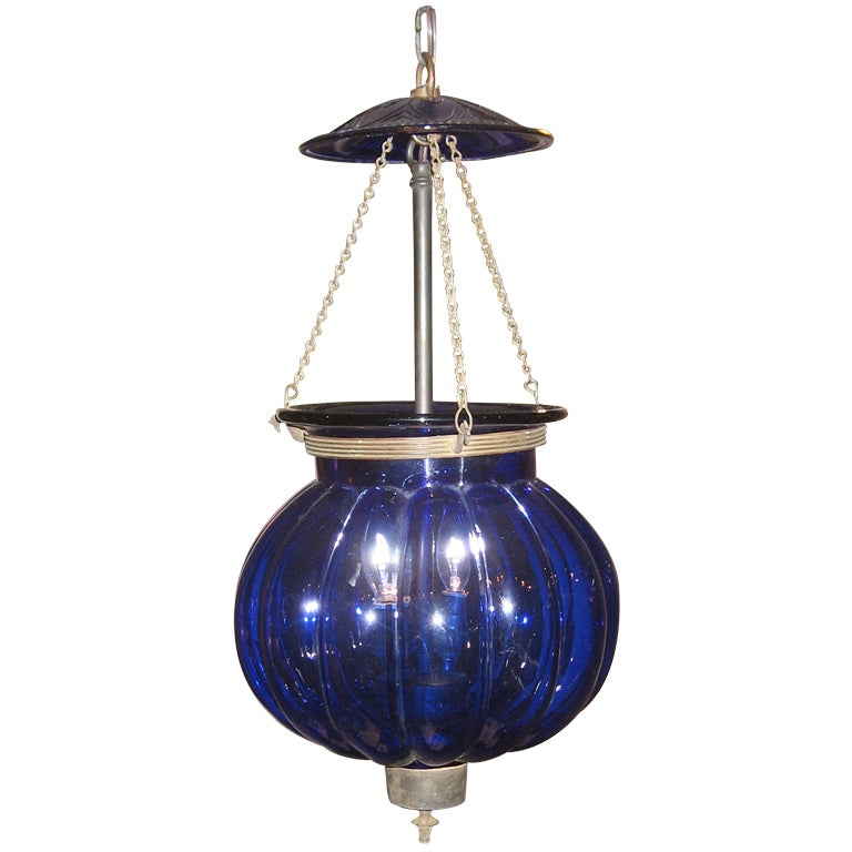 Antique Blue Glass Lantern At 1stdibs