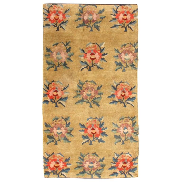 Antique Tibetan Rug: Floral For Sale At 1stdibs