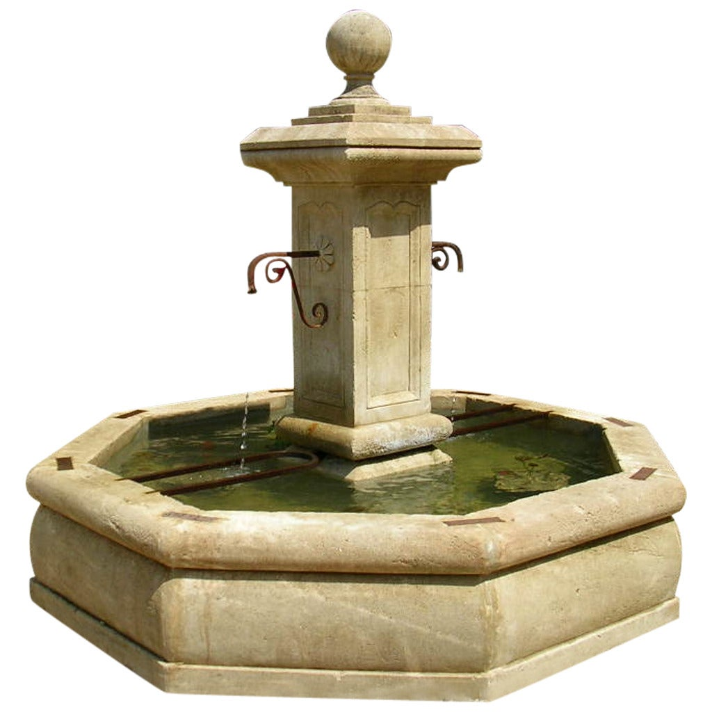 French Louis XIV Style Fountain Handcrafted in Limestone, South of France For Sale