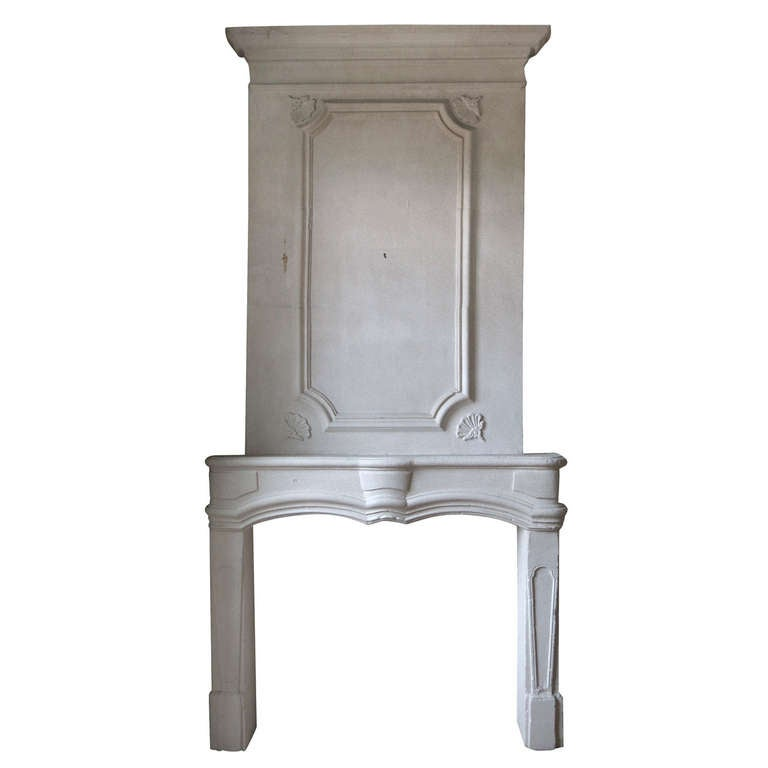 Louis XIV Period 17th Century Bombee Fireplace with Trumeau Original France
