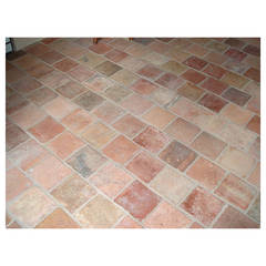 "French Antique Terra Cotta Floors ""pare-feuille"" 18th-19th Century, France"