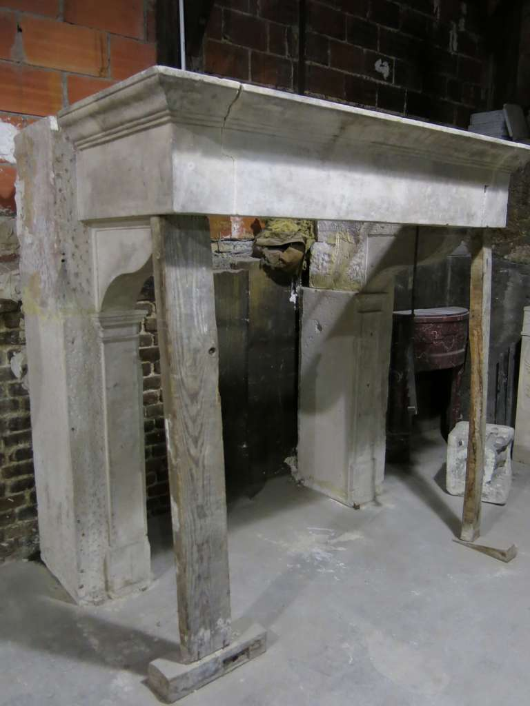 French Fireplace Louis Xiii A Clef In Limestone France 19th Century For Sale At 1stdibs