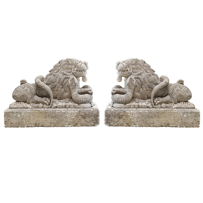 Pair of Lions, handcrafted in limestone by French artist