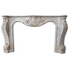 Embassy Quality French Louis XV Regence Style Fireplace White Marble 19thC