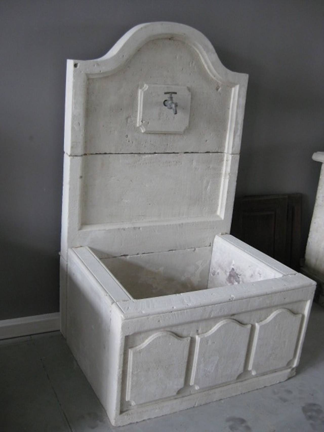 A French Louis XIV style fountain handcrafted in pure French limestone. From South of France, Riviera Coast, Provence.  Beautiful Art work, panels on the front of the basin, curve on the top of the fountain.  More infos on demand.
