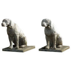 French dog statues cast stone (the pair), hand-finished in the 20th C. France.'.