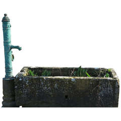 French Village Limestone Water Fountain with Iron Water Pump, France, circa 1800