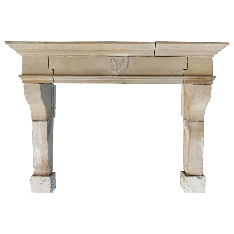 """French Louis XIII """"Salmon"""" Antique Fireplace in Limestone from France, 18th C For Sale"""
