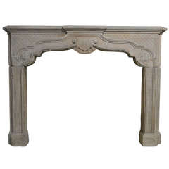 French Chateau Louis XIV Style Sandstone Fireplace circa 1850s, France