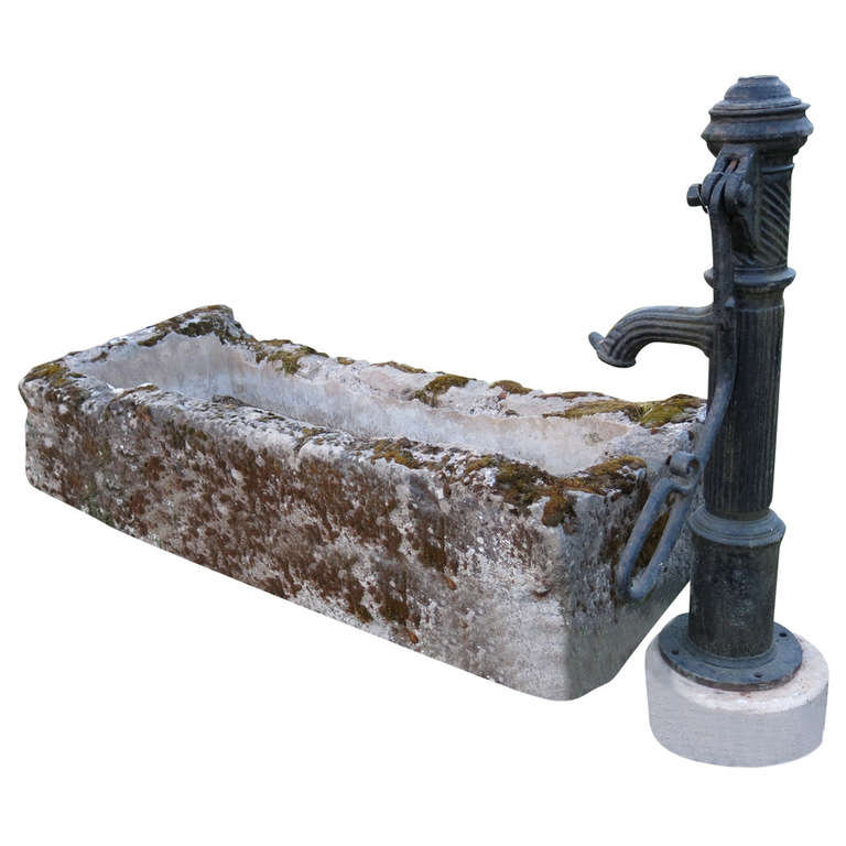 French Fountain in Limestone and Iron Water-Pump, 18th - 19th Century France