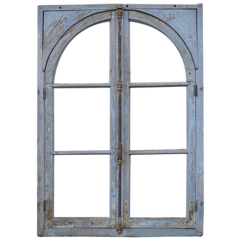 French Antique Window in Wood Solid Oak Early 1800s from