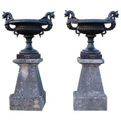 "Rare Dragons Vases Iron signed ""Jose ... Sevilla"" 1800s Limestone Pedestals"