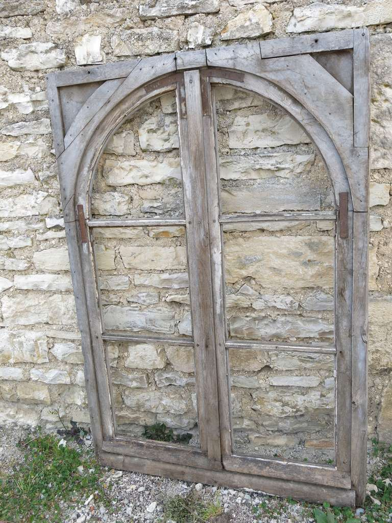 French Antique Window in Wood (Solid Oak) Early 1800s from Paris, France 9