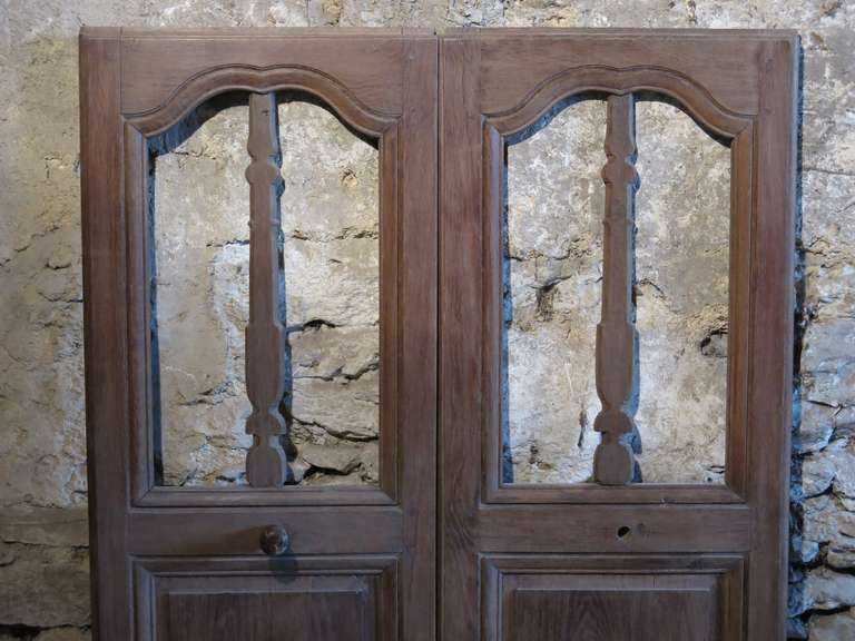 A rare pair of double doors in Oak (wood) from a Louis XIV period & French Chapel Presbytere Louis XIV Period Double Doors in Oak circa ...