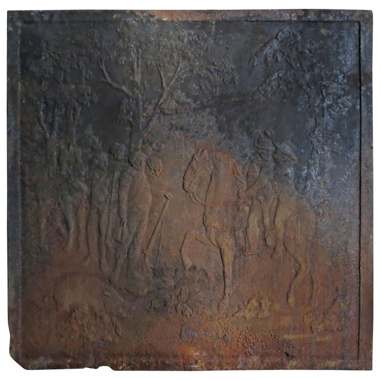 """1800 S Colonial Scene On Demand: """"Hunting Scene In Forest"""" Iron Fireback, France, Circa"""