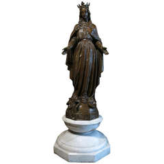 Virgin Marie Statue Bronze Style Patina after Val d Osne, France, circa 1880