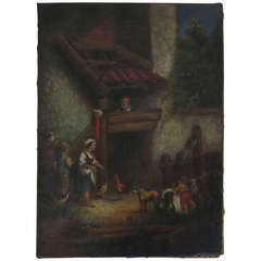 """French Antique Oil Painting """"Farmyard Scene"""" 19th Century, France"""