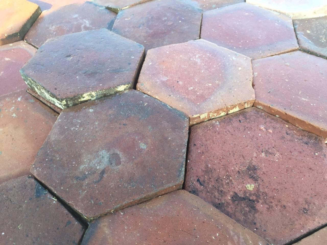Authentic French Antique Hexagon Terracotta Flooring Original 1700s