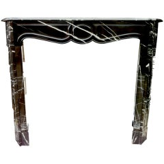 Parisian black and white marble fireplace original