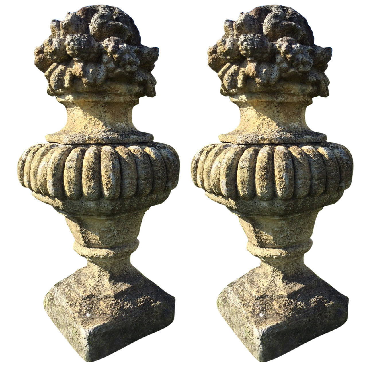 Monumental Pair of French Louis XIV Style Stone Urns, 1900s France